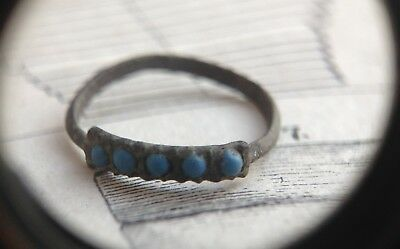 ring bronze with stones turquoise middle ages 11-13 century