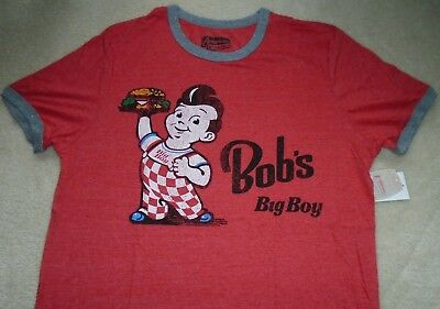 "NEW MENS L ""BOB'S BIG BOY"" T SHIRT, Hamburger Cheeseburger Restaurant Logo Tee"