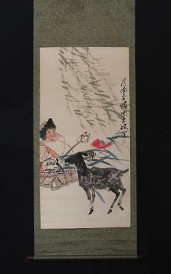 Fine Chinese Hand-painting Painting Scroll Zhou Changyi Marked-sheep