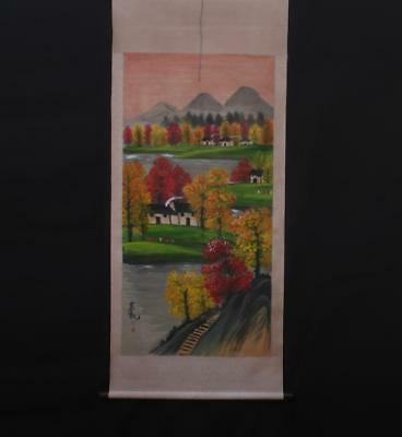 Fine Chinese Hand-painting Painting Scroll Lin Fengmian Marked-trees