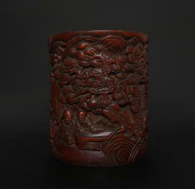 Perfect Antique Chinese Carved Bamboo Brush Pot -many figures
