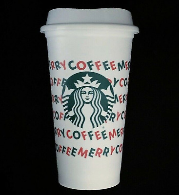 New Starbucks 2019 Christmas Merry Coffee White Reusable 16 oz Holiday Cup & Lid