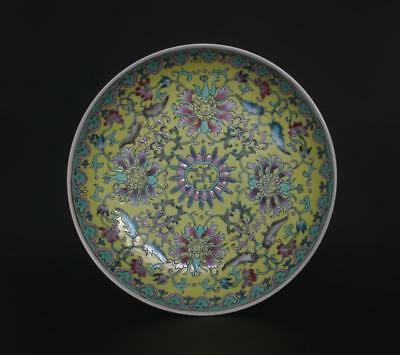 Perfect Antique Chinese Porcelain Famille-Rose Dish Yongzheng Mark-flower