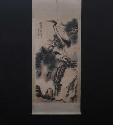 Fine Chinese Hand-painting Painting Scroll Pan Tianshou Marked-crane