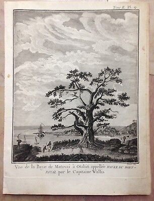TAHITI MAHINA BAY OF MATAVAI 1774 JAMES COOK 18e CENTURY ANTIQUE ENGRAVED VIEW