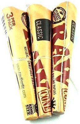 3 Packs X 3 = 9 Pcs RAW Classic Hemp King Size Pre Rolled Cones Rolling Paper