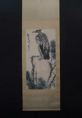 Fine Chinese Hand-painting Painting Scroll Pantianshou Marked-Eagle