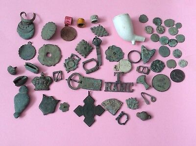 Group Of Detecting Finds Different Period Artefacts & Coins See Scans