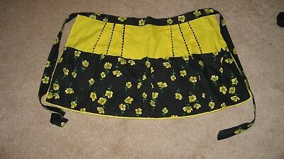 Vintage Half Apron with 3 front pockets Yellow and Black  Cotton Print Handmade