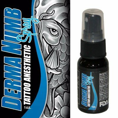 DERMA NUMB Tattoo Topical Lidocaine Anesthetic Spray Pain Relief Treatment 1 oz