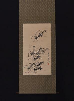 Fine Chinese Hand-painting Painting Scroll Qi Baishi Marked-shrimp