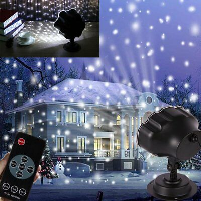 Christmas Snow LED Light Projector Snowflakes Night Lamp Xmas Garden Decoration