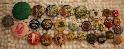 Lot of 27 Mixed Church Religious Pinbacks Buttons Welcome Rally Day #31451