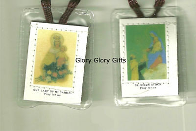 Our Lady of Mount Carmel Scapular with Brown Cord