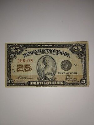 ~ .25 Cent Note 'Dominion of Canada' July 2nd 1923