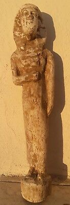 Antique Vintage Egyptian Pharaoh God Large Carved Wood and Painted Sculpture Old