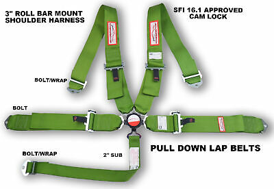"""Sfi 16.1 Race Harness Lime Green 5 Point Cam Lock 3"""" Roll Bar Mount Bolt In"""