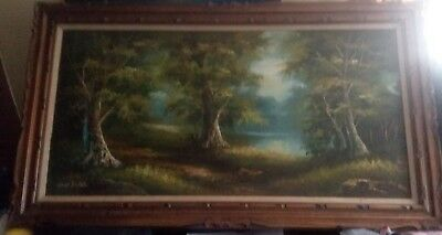 Cantrell oil painting Very large signed beautiful frame 56 x 32 Antique