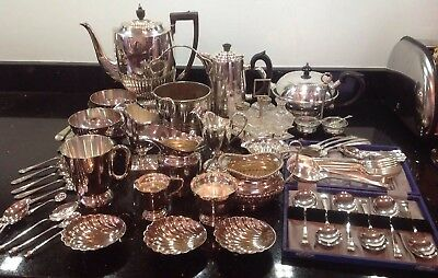 Job Lot Antique / Silver Plated Items Teapot, Jugs, Cutlery, Condiments, &  More