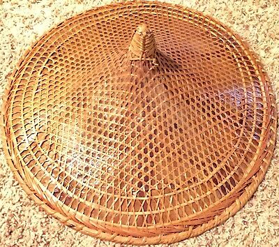 RARE ANTIQUE ASIAN CONICAL HAT bamboo straw VINTAGE Chinese Japan RICE FARMER