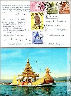 Goldpath: Burma postcard 1966, to Switzerland _CV23_P12