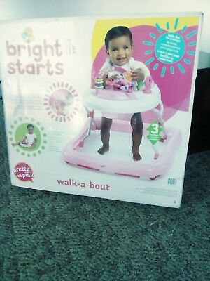 Bright Starts Walker Juneberry Walk a Bout Infant Baby 3 Adjustable Height