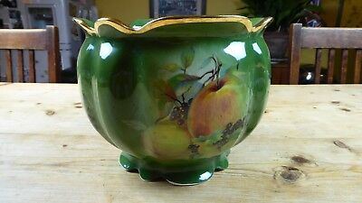 Vintage Large Victorian Style Green Pottery Jardiniere decorated with Fruit
