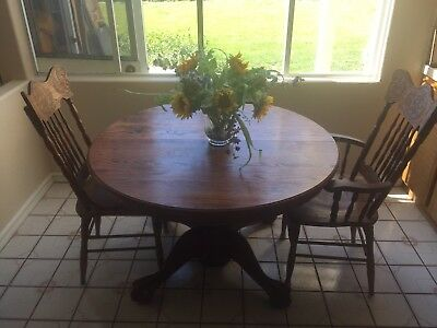 """Vintage Dining Table 48"""" Pedestal Ball Claw Foot Dragon Pressed Back Oak Chairs"""