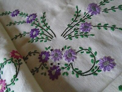 Vintage  Hand Embroidered Irish Linen Tablecloth -  Beautiful Embroidery Work