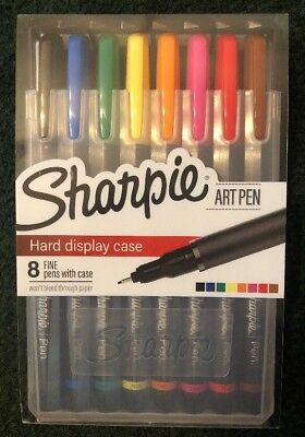 Sharpie Art Pens, Fine Point, Assorted Colors, Hard Case, 8 Pack  FREE SHIP