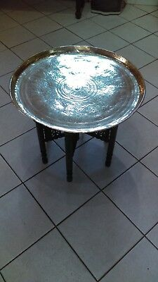 Vintage  Brass  Topped  Benares  Table.