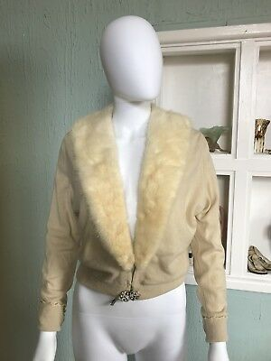 1950s Cashmere Cardigan With Mink Collar