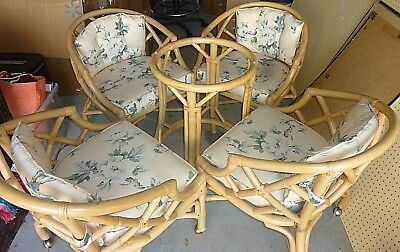 10 Piece Dinette Set Rattan Bamboo Glass Top Dining Table 4 Chairs on Casters