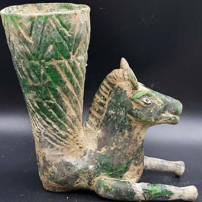 Excavated Ancient Greenish Glass Rare Rhyton in form of Horse   # 5B