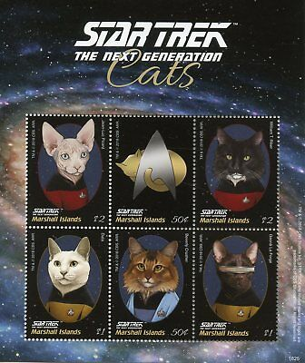 Marshall Islands 2018 MNH Star Trek Next Generation Cats Picard 6v M/S I Stamps