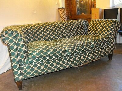 1900s English Antique Chesterfield style3-Seater Sofa, w/Drop Down Arm