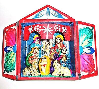 PERU Folk Art Peruvian Retablo Shadow Box Nativity Scene Diorama