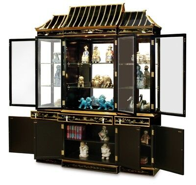 Oriental Furniture China Cabinet 72 Black Lacquer Mother Of Pearl
