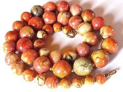 Huge vintage natural apple coral beads necklace 93 grams collier corail gorgone