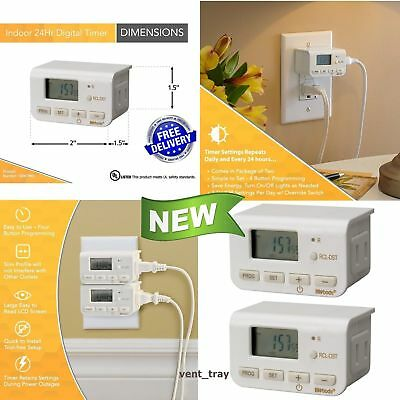 2 Pack Digital Light Lamp Timer Clock Switch Indoor 24 Hour Plug-In Outlet Home
