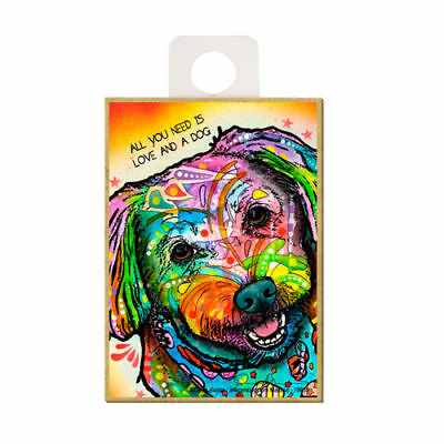 Maltese All You Need Is Love And A Dog Dean Russo Wood Fridge Magnet