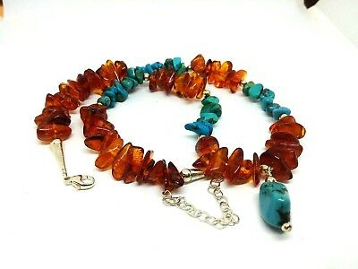"""Sterling Silver USA Natural TURQUOISE & BALTIC AMBER Necklace adjustable 17"""" -20"""