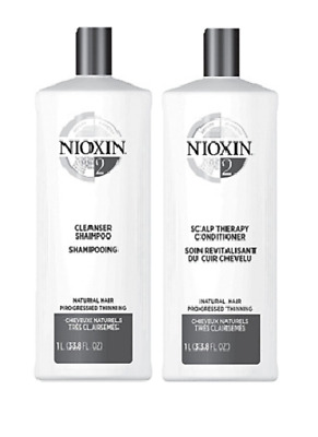 Nioxin System 2 Cleanser & Scalp Therapy Duo 33.8 oz/ 1L NEW!
