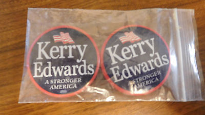 """2 Collectible Kerry Edwards Stronger America 2.25"""" Diameter Circle Campaign Pins"""