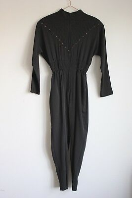 Vintage 1980s Black Long Sleeve Jumpsuit By Joan Walters Size Xs Small Medium
