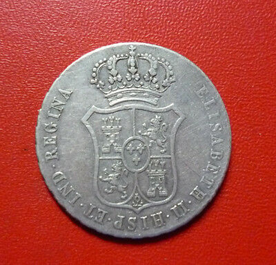 SPAIN SILVER COIN 2 Reales, 1833 - Proclamation of Isabel II