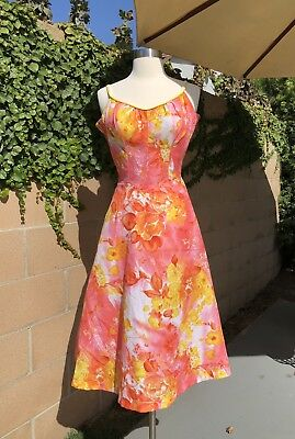 0aa9dd68c3018 vintage 1950s Floral Summer Swimming dress De Weese Design Size Medium large