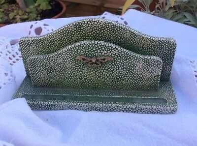 Green Vintage Ceramic Free Standing Letter Rack With Gold Bow Decoration
