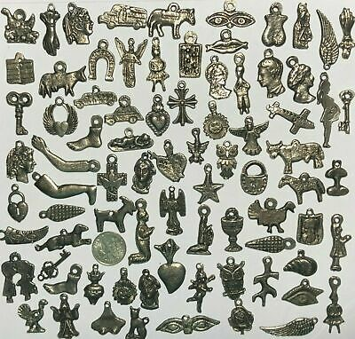100 Dark Antique Black SILVER Tone Folk Art Milagros Exvoto Nicho Retablo Charms