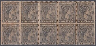 1876-119 SPAIN ANT 1 Pta. 1876. ALFONSO XII. Ed.38. BLOCK OF 10. NO GUM.